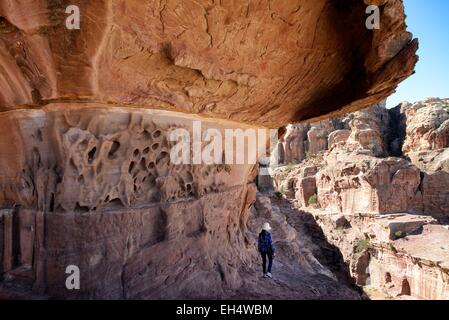 Jordan, Nabataean archeological site of Petra, listed as World Heritage by UNESCO, trail and landscape - Stock Photo