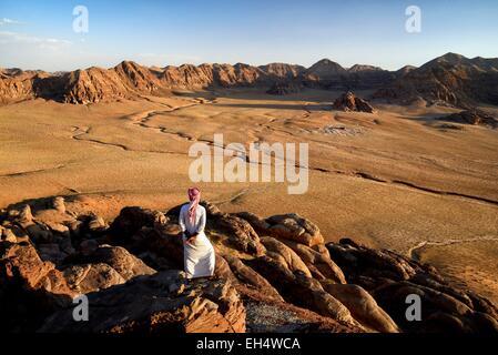 Jordan, Wadi Rum desert, border with Saudi Arabia, Bedouin and view from the mountain Jebel Khasch - Stock Photo