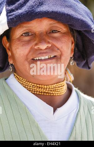 Ecuador, Imbabura, Chilcapamba, portrait of a traditionally dressed Ecuadorian peasant - Stock Photo