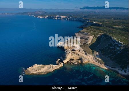 France, Corse du Sud, Bonifacio, coastal area near Pertusato lighthouse (aerial view) - Stock Photo