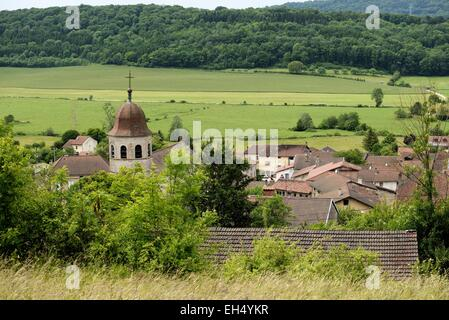 France, Jura, Gigny, village, abbey founded in 891, abbey church, octagonal tower - Stock Photo