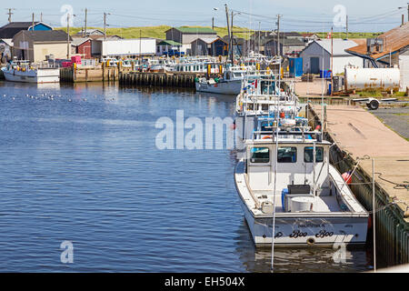 Commercial fishing boats tied up at the wharf in North Lake, Prince Edward Island,Canada. - Stock Photo