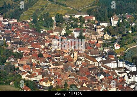 France, Haut Rhin, the Alsace Wine Route, Ribeauville (aerial view) - Stock Photo