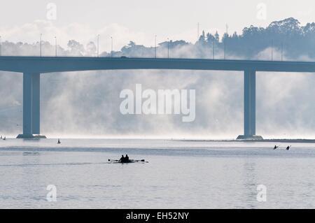 Portugal, North Region, Porto, morning mist on the Douro River - Stock Photo