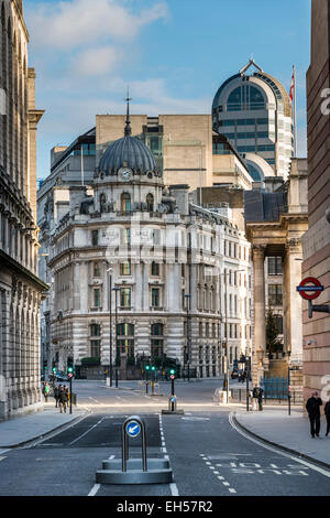 Views down Poultry toward Bank Junction in the City of London and No 1 Cornhill - Stock Photo