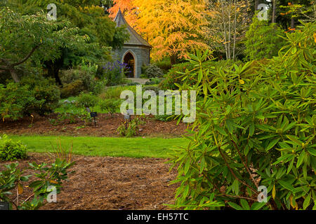 Meerkerk Gardens, Washington, fall, Whidbey Island, Entry gate and ...