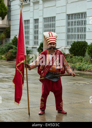 Istanbul, Turkey Mehter member flag - Stock Photo