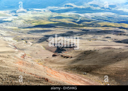 View looking down from Cotopaxi Volcano in Ecuador - Stock Photo