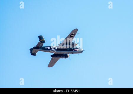 A B-25 Mitchel Bomber at the 2011 the Wings Over Camarillo Air Show in Camarillo California - Stock Photo