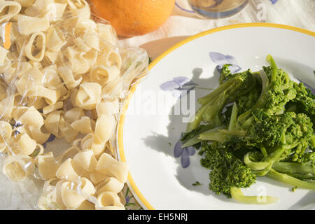 traditional dish of Apuleia: pasta with stewed turnip greens - Stock Photo