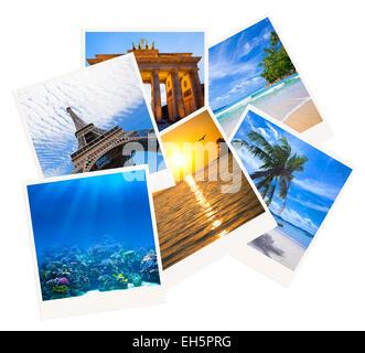 Various travel photo collage isolated on white background - Stock Photo