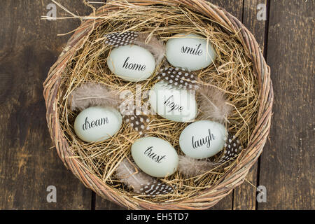 Eggs with handwritten messages in a basket with straw - Stock Photo