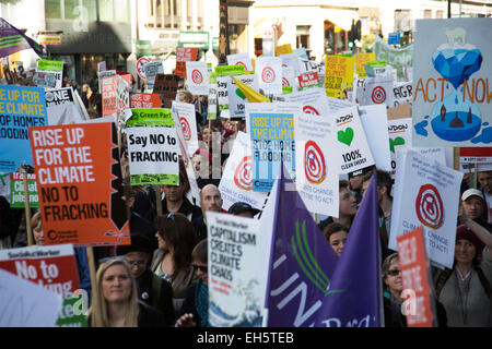 London, UK. Saturday 7th March 2015. Time to Act. Campaign against Climate Change demonstration. Demonstrators gathered - Stock Photo