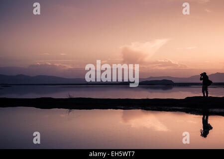 Sunset at the artificial lake of Karla, in the Greek region of Thessaly, between the cities of Larissa and Volos. - Stock Photo
