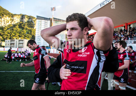 Gibraltar - 7th March 2015 - Gibraltar were beaten 8-33 by Malta in the friendly international rugby match played - Stock Photo