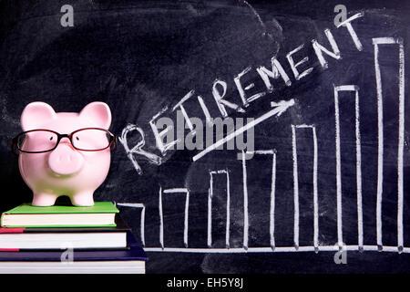 Pink piggy bank retirement plan - Stock Photo