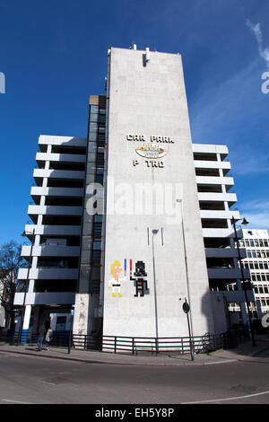 Star Wars Street Art by French artist Space Invader on the Great Eastern Street car park, Curtain Road, London, - Stock Photo