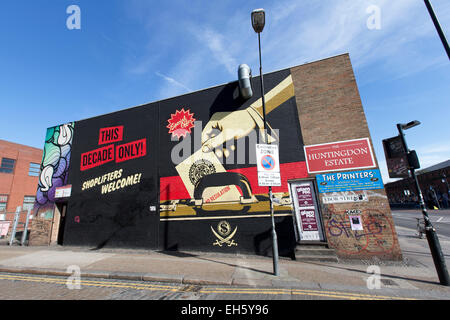 Shepard Fairey street art, Ebor Street, Shoreditch, London, England, UK. - Stock Photo