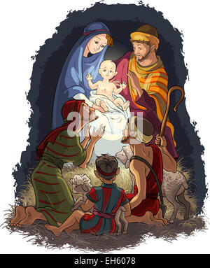 Nativity Scene with Infant Jesus, Mary, Joseph and Shepherds. Christian Christmas Theme - Stock Photo