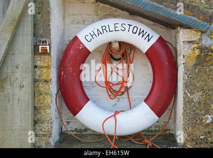 Lifebuoy at Charlestown, Cornwall, England UK - Stock Photo