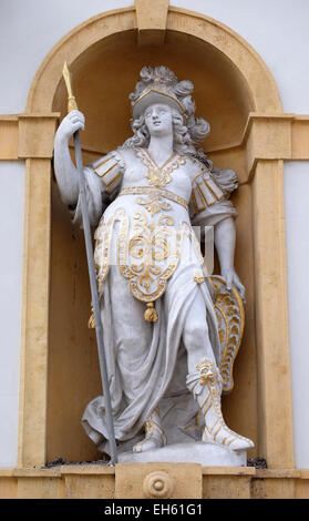 Minerva, Roman goddess of wisdom and sponsor of arts, trade, and strategy, Arsenal (Zeughaus) historic center of - Stock Photo
