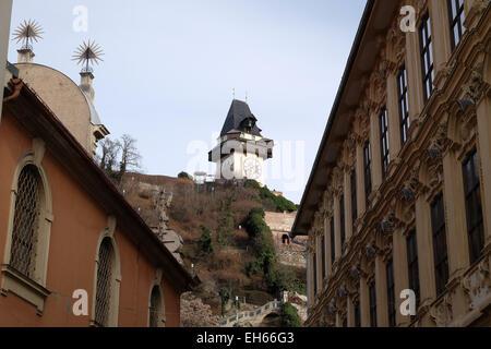 Schlossberg (Castle Hill), mountain in Graz. Part of the UNESCO World heritage in Graz, Austria on January 10, 2015. - Stock Photo