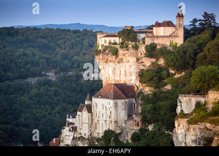 Hot air balloon above the valley at Rocamadour in the Dordogne of the Midi Pyrenees, France, Europe - Stock Photo