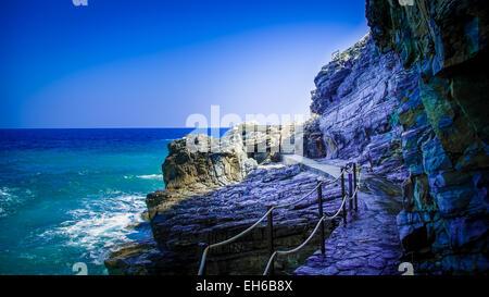 Mylopotamos beach, Pelion, Greece. It is near Tsagarada village in Pilio peninsula. It is one of the most beautiful - Stock Photo