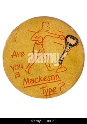 Vintage British Beermat Advertising Mackeson Beer - Stock Photo