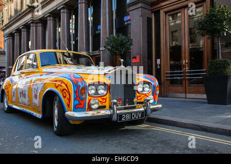 'The Beatles' John Lennon replica Psychedelic yellow white Rolls Royce A Hard Day's Night Hotel, located on North John Street,  Liverpool, UK