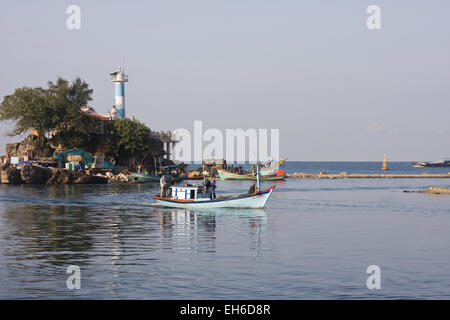 Harbor entrance with the lighthouse of Duong Dong Town on the island Phu Quoc, Vietnam, Southeast Asia - Stock Photo