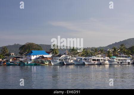 Fishingboats in Fishing port Cang An, Phu Quoc island, Vietnam, Asia - Stock Photo