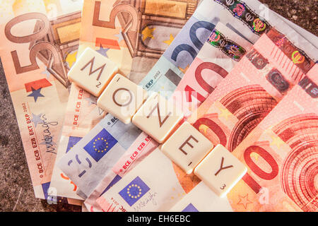Money text on a bunch of euro bills