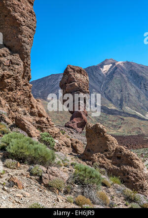 Canary Islands , Tenerife, volcano Teide. Lunar landscape of lava rocks of different colors . Rock the finger of - Stock Photo