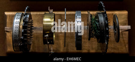 Annapolis Junction, Maryland, USA. 02nd Mar, 2015. The Enigma wired rotor is displayed at the National Cryptologic - Stock Photo