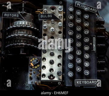 Annapolis Junction, Maryland, USA. 02nd Mar, 2015. The plugboard added to an ENIGMA machine is displayed at the - Stock Photo