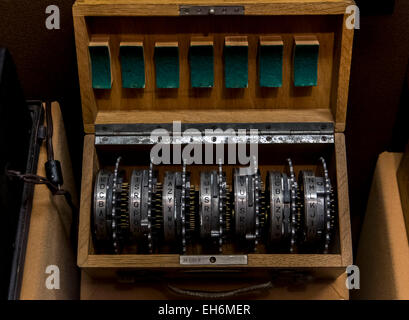 Annapolis Junction, Maryland, USA. 02nd Mar, 2015. Rotors for the ENIGMA machine are displayed at the National Cryptologic - Stock Photo