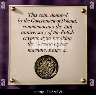 Annapolis Junction, Maryland, USA. 02nd Mar, 2015. A commemorative Polish coin is displayed at the National Cryptologic - Stock Photo