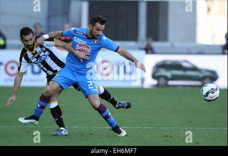 Udine, Italy. 8th March, 2015. Torino's forward Quagliarella Fabio fight for a ball with Udinese's midfielder Giampiero - Stock Photo