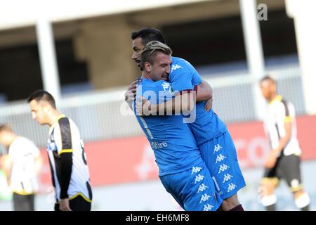 Udine, Italy. 8th March, 2015. Torino's forward Quagliarella Fabio (R) celebrates after scored goal 1 - 1 with Torino's - Stock Photo
