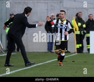 Udine, Italy. 8th March, 2015. Udinese's forward Antonio Di Natale celebrates goal 1-1 with Udinese's coach Andrea - Stock Photo