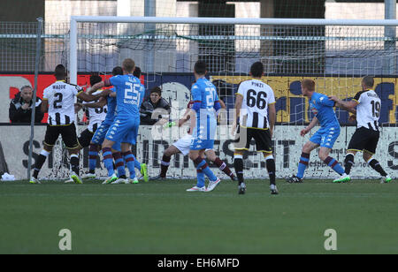 Udine, Italy. 8th March, 2015. Udinese's midfielder Panagiotis Kone kick a ball and scored goal 2 - 1 during the - Stock Photo