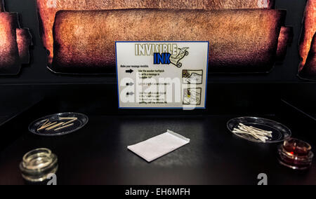 Annapolis Junction, Maryland, USA. 02nd Mar, 2015. An interactive display about invisible ink at the National Cryptologic - Stock Photo