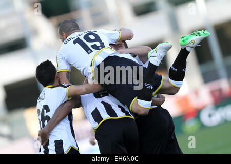 Udine, Italy. 8th March, 2015. Udinese's players celebrates after goal 3 . 1 during the Italian Serie A football - Stock Photo