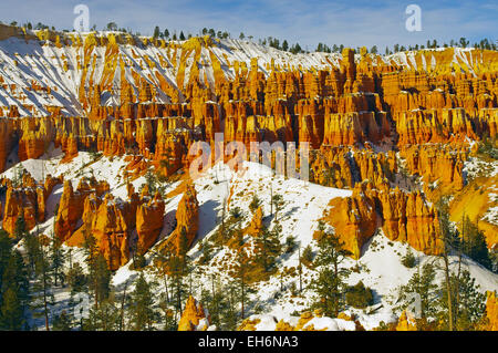 Bryce Canyon in winter with snow on the hoodoos, Utah, United States. - Stock Photo