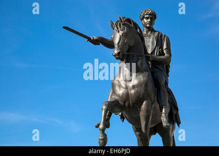 Equestrian statue of Jozef Poniatowski in front of the Presidential Palace in Warsaw, Poland - Stock Photo
