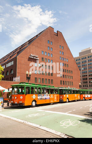 USA Old Town Trolley Tours City Sightseeing Buses Outside Marriott Long Wharf Boston Massachusetts