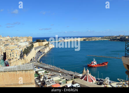 Malta, Valletta, a view of the entrance to the Grand Harbour with the island's parlament in it. - Stock Photo