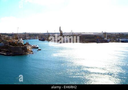 Malta, Valletta, A view if the Grand Harbour over Valletta. - Stock Photo