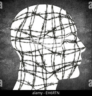 head silhouette with barbed wire digital illustration - Stock Photo